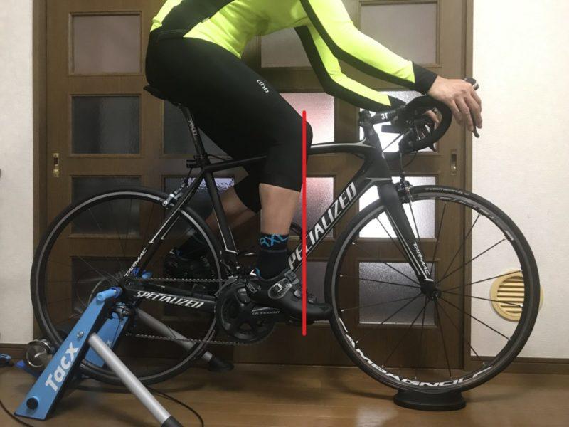 膝とペダル軸の写真