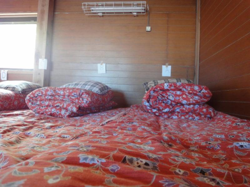 寝床は壁際