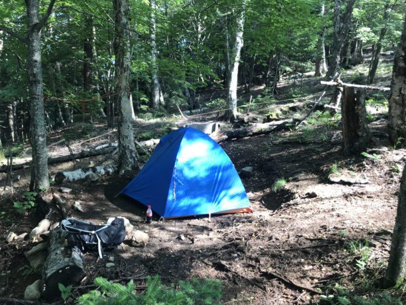 登山道脇のテント場