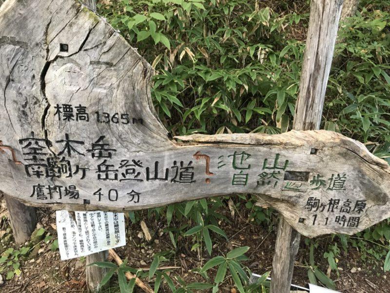 林道終点の標識