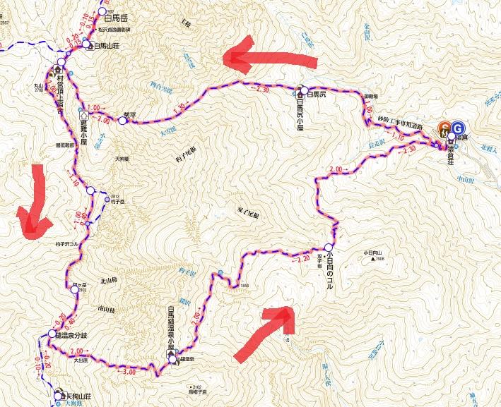 白馬三山 地図